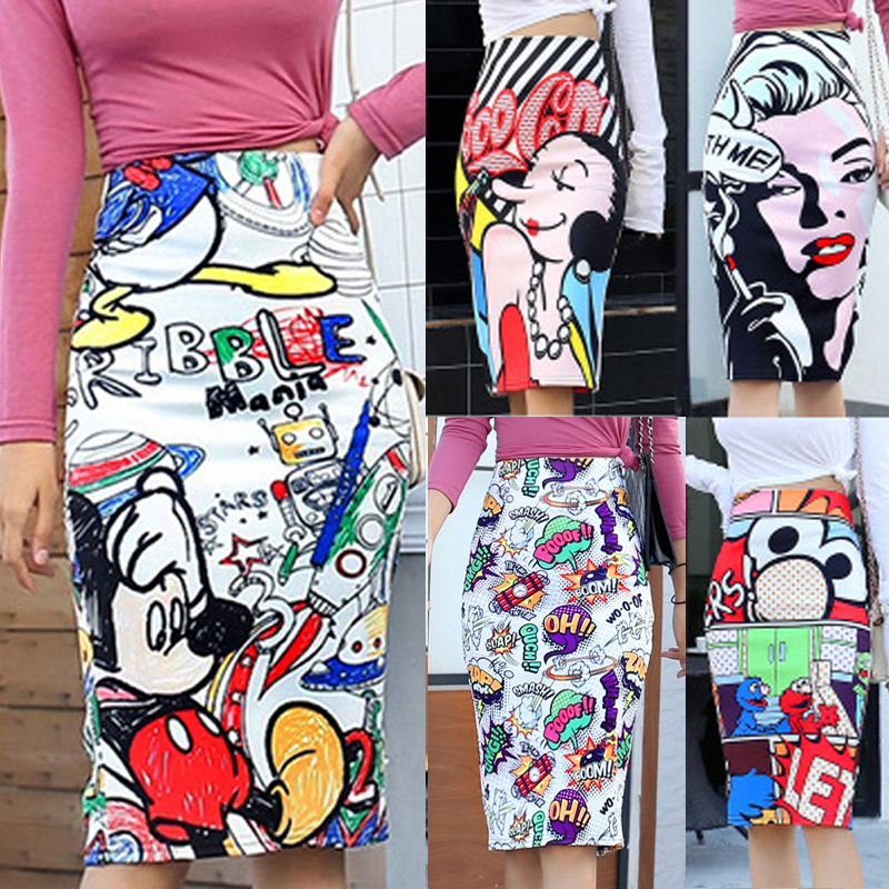 Bonjean Women's Pencil Skirt Mickey New Cartoon Mouse Print High Waist Slim Skirts Women Young Girl Summer Female Falda