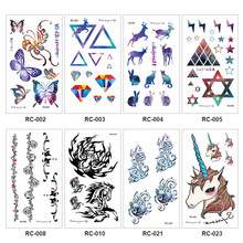 Waterproof Temporary Sticker Cute Animals Flowers Tattoo 3D Black Triangle Horror Tattoos Body Arm Men Fake Tatoos Body Art(China)