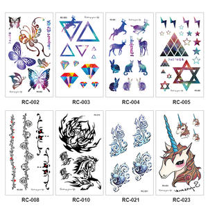 Flowers-Tattoo Temporary-Sticker Horror Body-Arm Animals Triangle Black Waterproof Cute