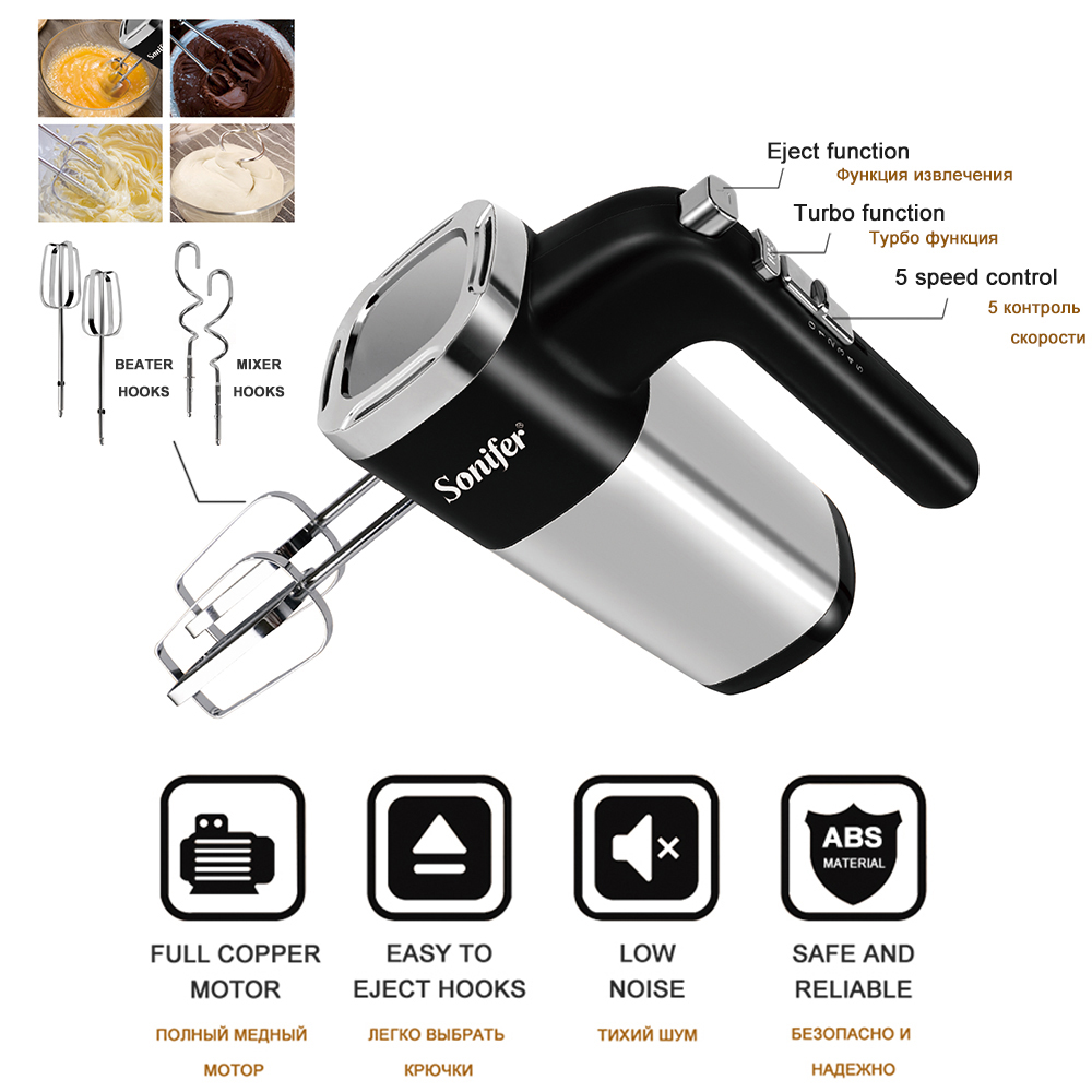 Image 2 - 5 Speeds 500W High Power Electric Food Mixer Hand Blender Dough Blender Egg Beater Hand Mixer For Kitchen 220V SoniferFood Mixers   - AliExpress