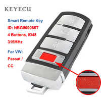 Keyecu Smart Remote Car Key Fob 4 Buttons 315MHz ID48 for VW Passat 2006 2007 2008 2009 2010 2011 2012 2013 for CC, NBG009066T