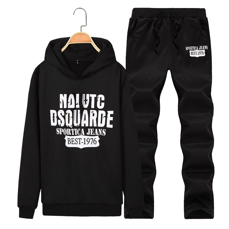 For Spring And Autumn Long Casual Jogging Suits Men's Printed Sports Clothing Korean-style Pullover Hoodie Suit Fas