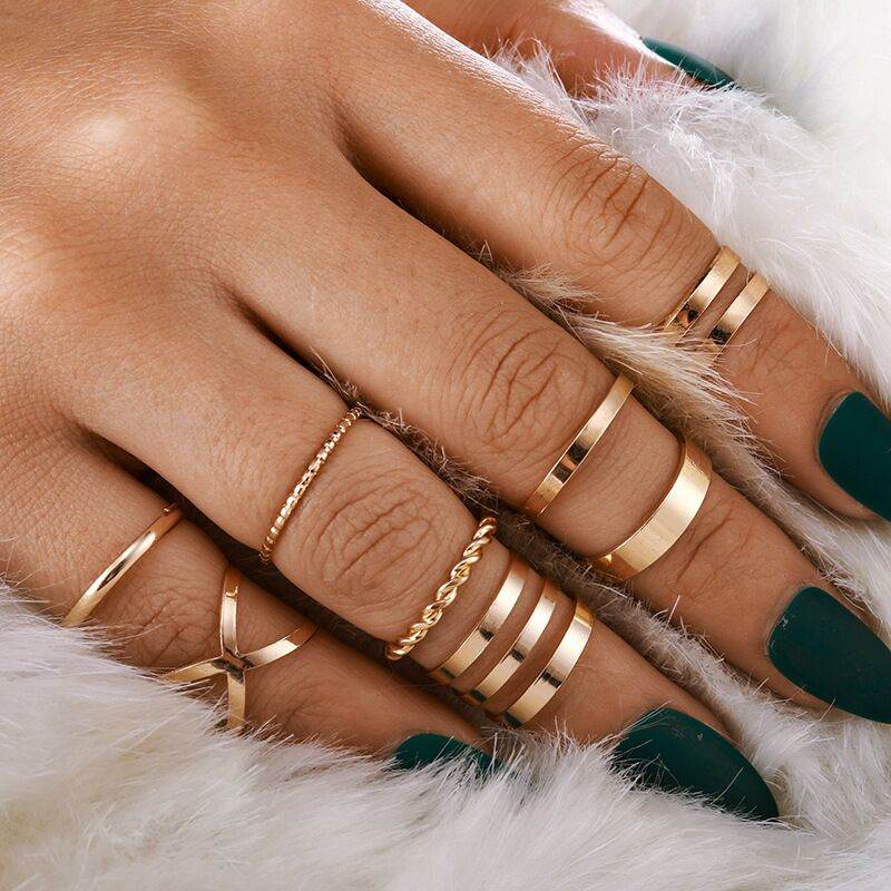 Nowy projekt złoty kolor okrągły z dziurką geometryczne zestaw pierścieni dla kobiet moda krzyż Twist otwarty pierścień Punk pierścień damska biżuteria