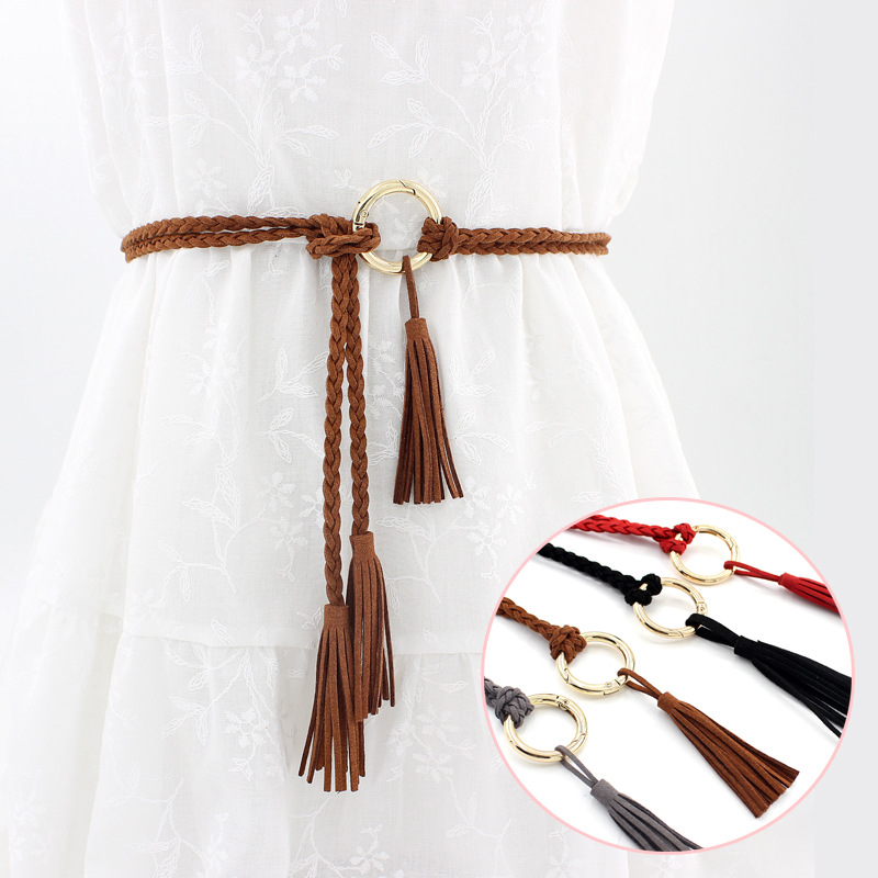 AWAYTR Metal Buckle Tassel Fashion Women's Belt Woven Strips Solid Color Romantic Style Dress Accessories Waistband For Ladies