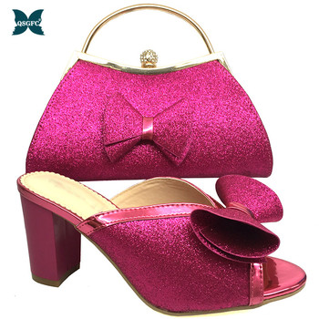 Latest Design Italian Designer Shoes and Bags Matching Set Decorated with appliques Women High Heels African Women Wedding Shoe