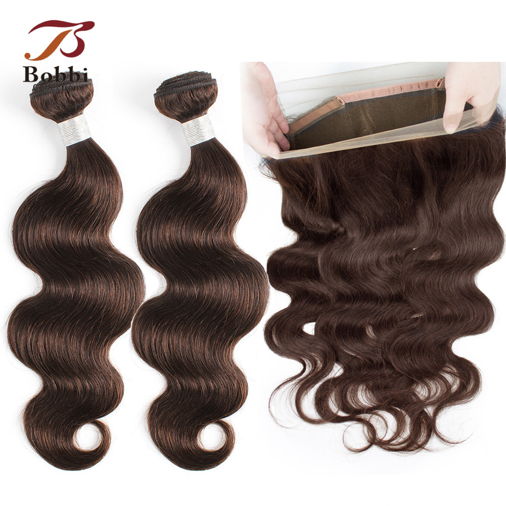 BOBBI COLLECTION 360 Lace Frontal With Bundle Color 2 Dark Brown Brazilian Body Wave Bundles Non Remy Human Hair Extension
