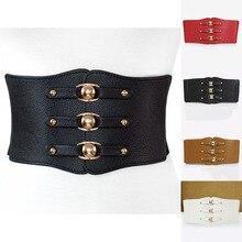 New Fashion women wide Belt Cummerbunds brand metal buckle e