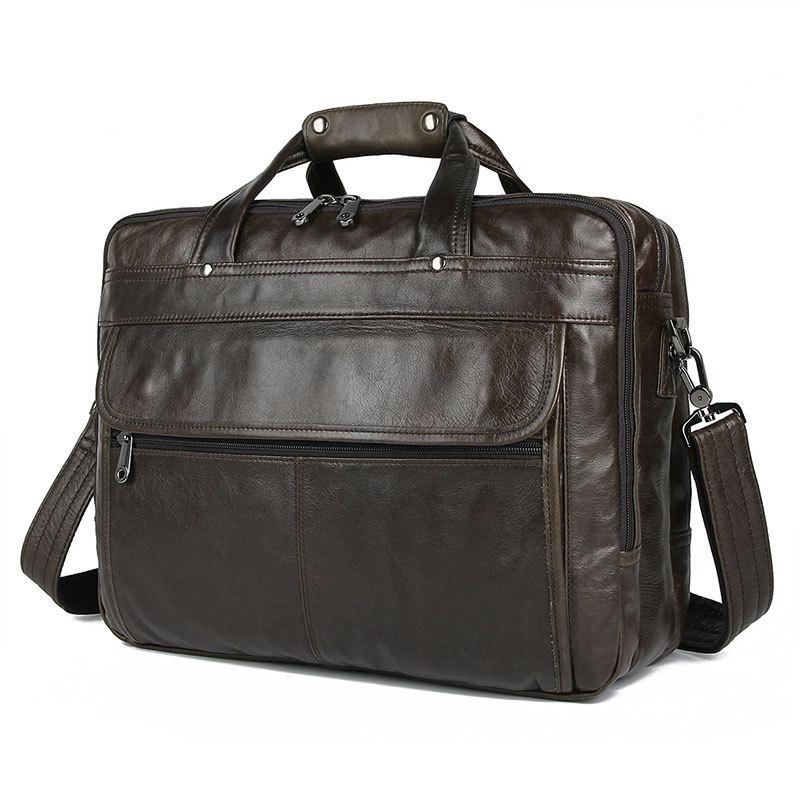 Nesitu High Quality Black Coffee Grey Genuine Leather 15.6'' Laptop Office Men Briefcase Business Messenger Bag Portfolio M7146