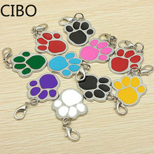 2019 New Wholesale Enamel Cat Dog/Bear Paw Prints Rotating Lobster Clasp Key Chain Keyrings keychain bag Jewelry(China)
