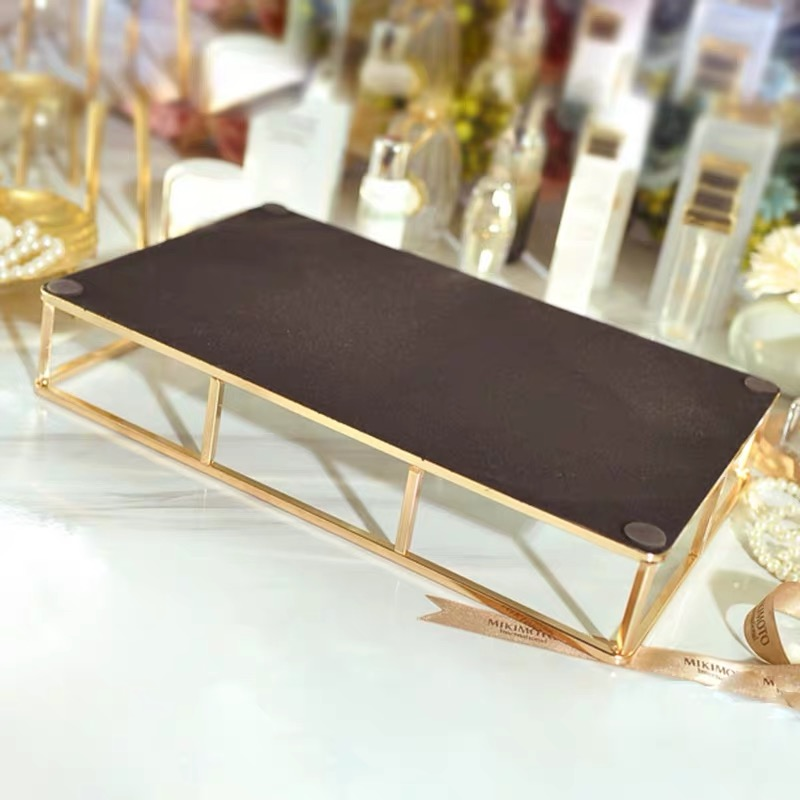 Boîte de rangement Vintage en verre métal   Vintage, plateau en or, bijoux, cosmétiques présentoir, plateau de rangement des cosmétiques, organisateur de cuisine, décor de la maison - 3