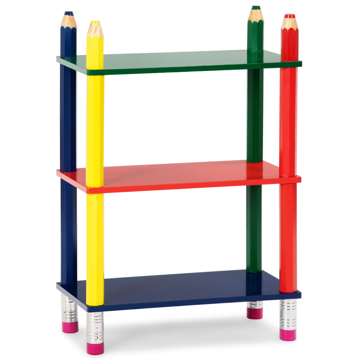 Costway Kids Bookcase Crayon Themed 3 Shelves