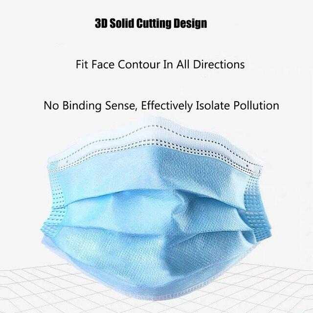 10/20/50/100 Pcs Dust Mask, Disposable Mask, 3-layer Saliva Splash Mask, Anti-fog, Anti-flu Respiratory Protective Mask 2