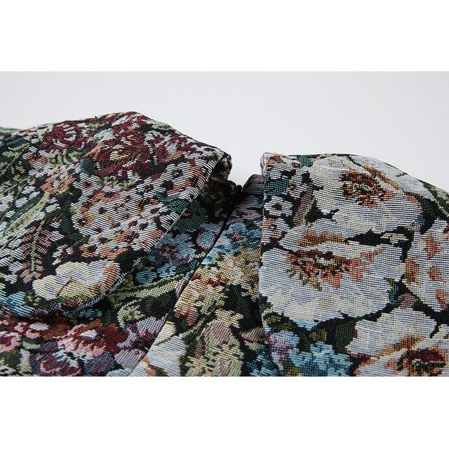 Autumn Vintage Floral Printing Long Sleeve Women Dress Korean Peter Pan Collar Cute Ladies High Waist Loose A-Line Dress Female 4