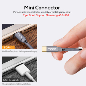 Image 5 - TOPK USB Type C Cable for Xiaomi Redmi Note 7 Mi 9 Fast Charging Data Sync USB C Cable for Samsung Galaxy S9 Oneplus 6t Type C