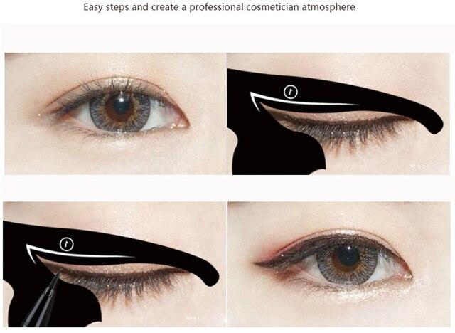 2Pcs Women Cat Line Pro Eye Makeup Tool Eyeliner Stencils Template Shaper Model Eyebrow Guide Makeup Tools 1