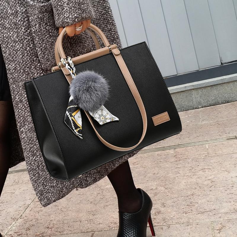 Luxury Women Bag 2019 Leather Handbags Luxury Lady Hand Bags With Hair Ball Women's Pendant Female Messenger Bag Big Tote
