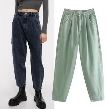 2020 Popular European and American Style Spring Autumn Womens Fashion Temperament Loose High Waist Harlan Denim Pants