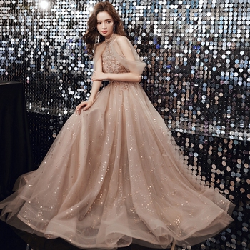 Champagne Prom Dresses  Halter  Dresses Woman Party Night  Floor-Length  Beading  Prom Dress  A-Line  Evening Dresses 1