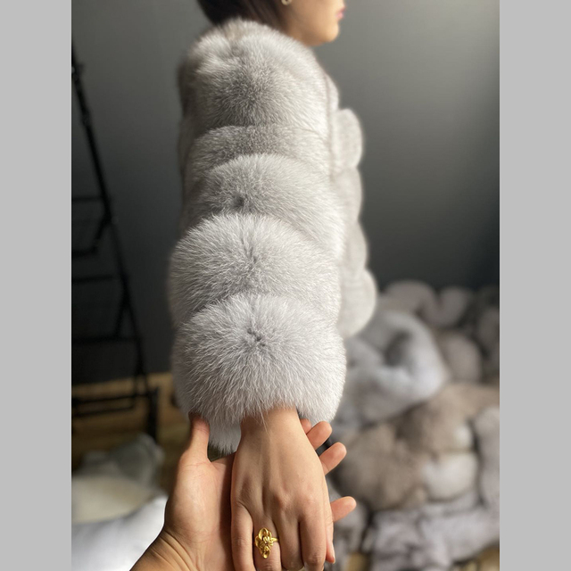 Fashion winter warm leather coat natural fox fur coat real fox fur jacket winter thick warm coat 3