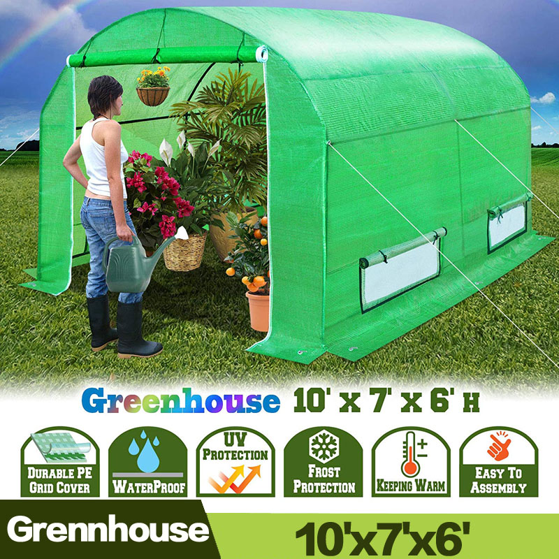 AULAYSED New Tunnel Greenhouse 10' X7'X6' Larger Insulation Garden House Durable 2 Doors Large Bird Pest Control With Iron Stand