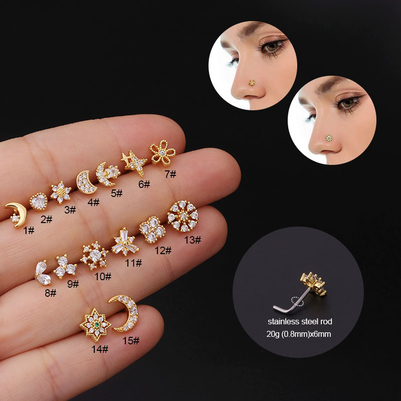 1Piece Zircon Star Moon Nose Ring Cuff Body Jewelry for Women 2021 New Trend 20G Stainless Steel Piercing Ear Cuffs Nose Studs