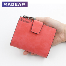 Fashion Small Female Purse Short Clutch Lady Zipper Wallet Multi-Function Simple Fresh Large-Capacity Leather Coin