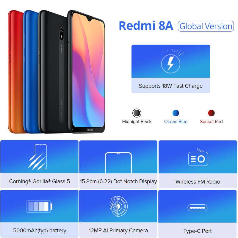 """Globale Versione Xiaomi Redmi 8A smartphone 2GB 32GB 5000mAh ad alta capacità della batteria 6.22 """"display 12MP AI primario della macchina fotografica 18W di carica"""