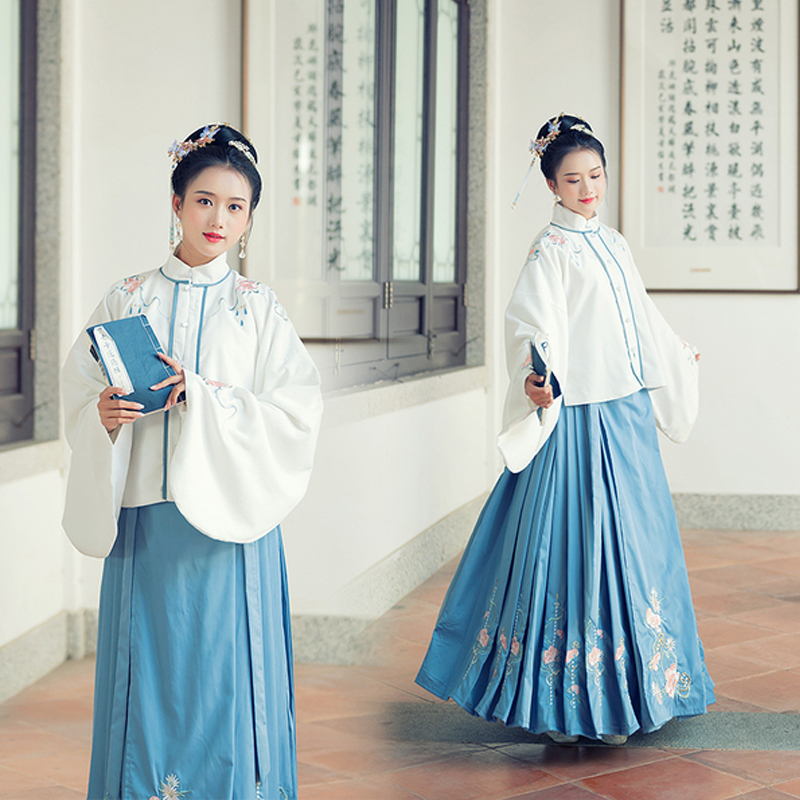 Hanfu Costumes Chinese Traditional Ancient Classical Clothes Ming Dynasty Fairy Dress Women Hanfu White Tops Blue Skirt VO393
