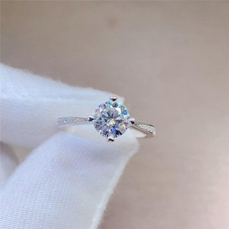Geoki 1 ct laboratoire cultivé diamant Moissanit 4 amour coeur dents anneau femmes 925 en argent Sterling coupe parfaite ronde VVS1 pierre bijoux