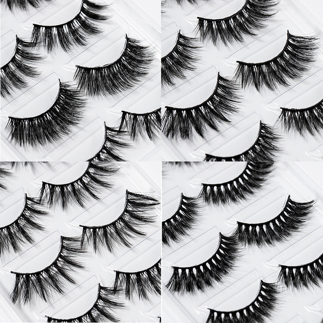 2020 New 15-25mm 3D Faux Mink Hair Cross False Eyelashes 5 Pairs Long Eye Lashes Handmade Thick Makeup Beauty Extension Tools 3