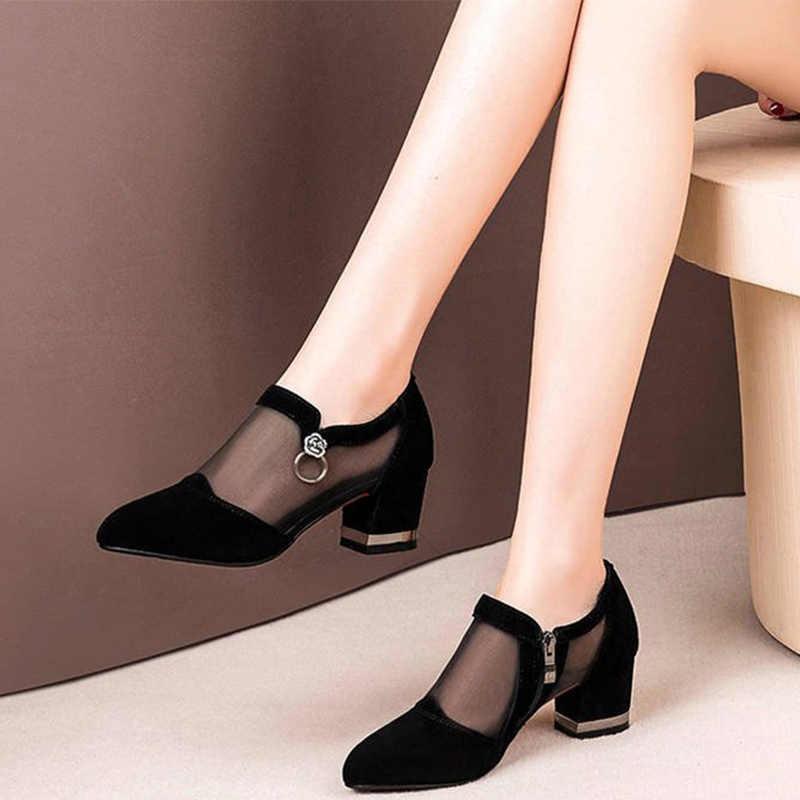 MCCKLE Nữ Pha Lê Lưới Khóa Kéo Ren Giày Sandal Nữ Cao Gót Fahion Nữ Cổ Điển Chắc Chắn Nền Tảng Giày Sandal Nữ 2020