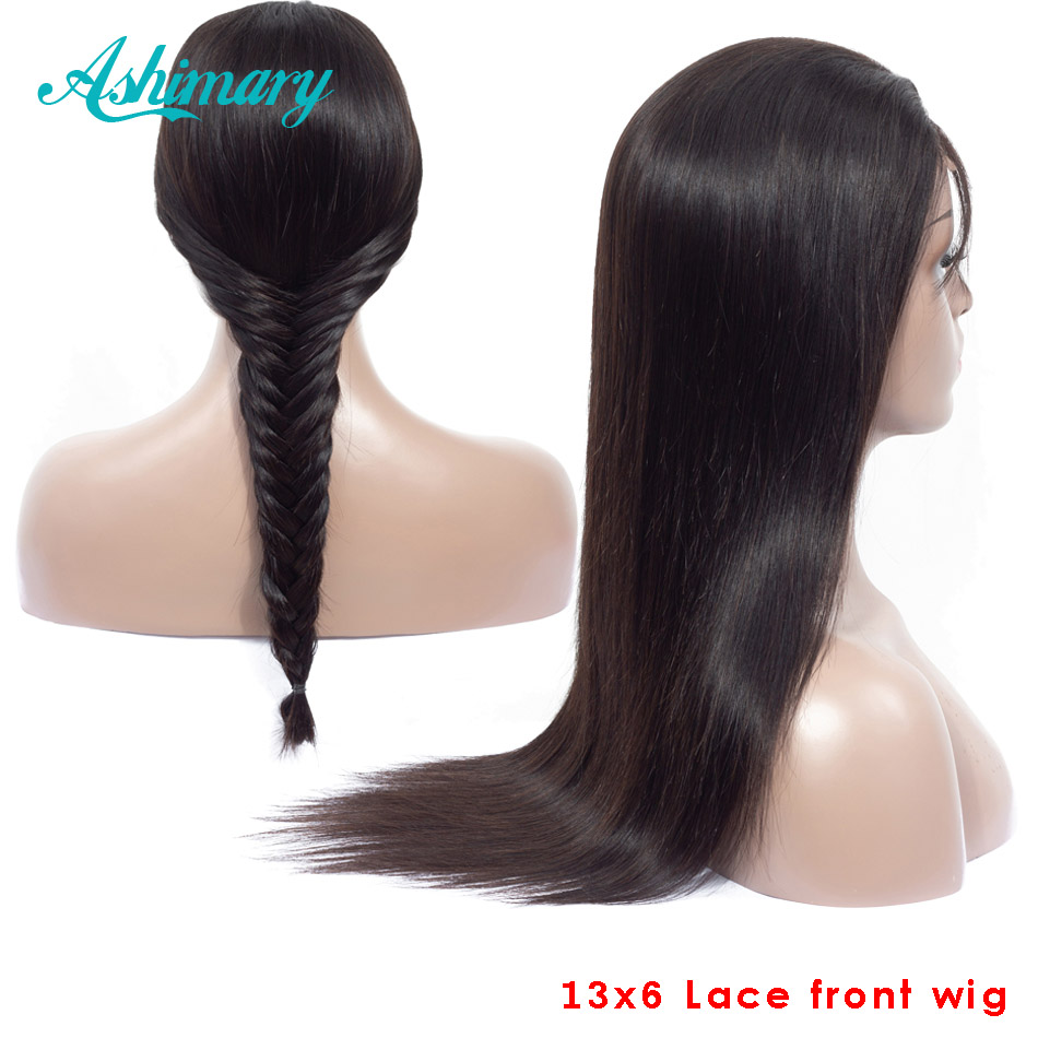 Ashimary Wig Straight Lace-Frontal Human-Hair Pre-Plucked 13x6 Baby Brazilian