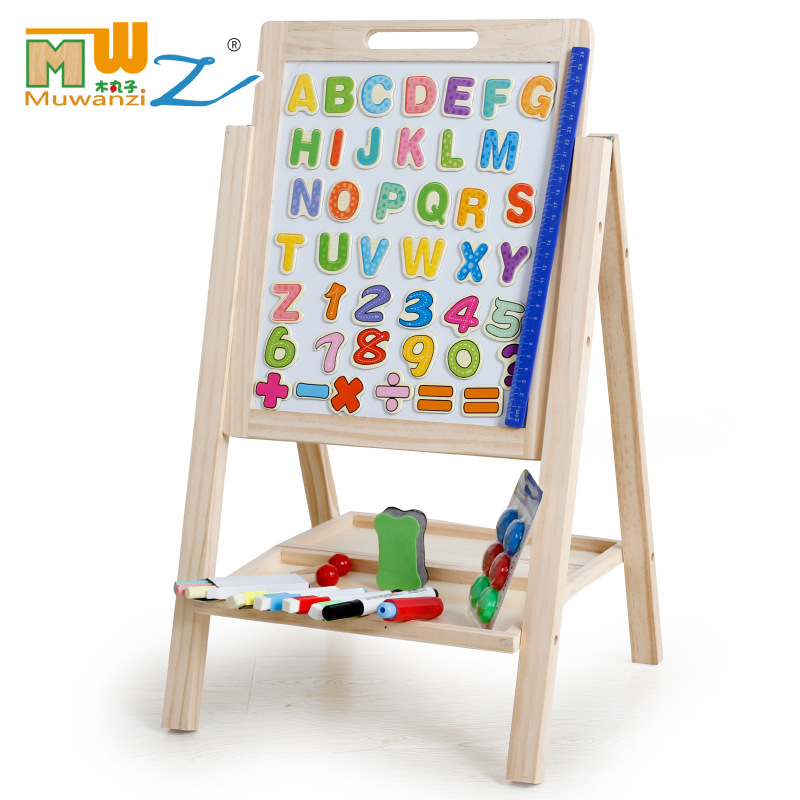 MWZ CHILDREN'S Toy Braced Double-Sided Magnetic Adjustable Black And White Writing Board Wooden CHILDREN'S Toy Drawing Board
