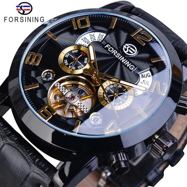 Forsining Tourbillion Fashion Wave czarny złoty zegar Multi ekran funkcyjny męskie automatyczne mechaniczne zegarki Top marka Luxury