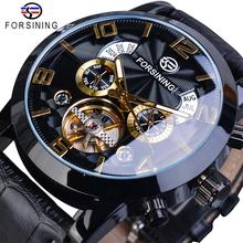 Forsining Tourbillion אופנה גל שחור זהב שעון רב פונקצית תצוגת Mens אוטומטי מכאני שעונים למעלה מותג יוקרה