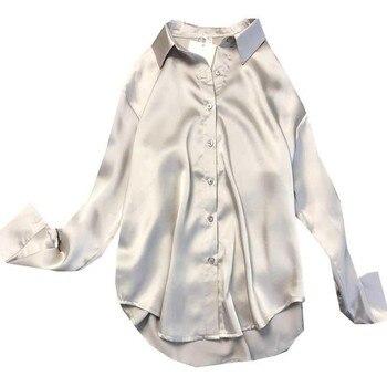 New Spring Autumn Women Fashion Long Sleeves Satin Blouse Vintage Femme Oversized Street Shirts Elegant Imitation Silk Blouse 3