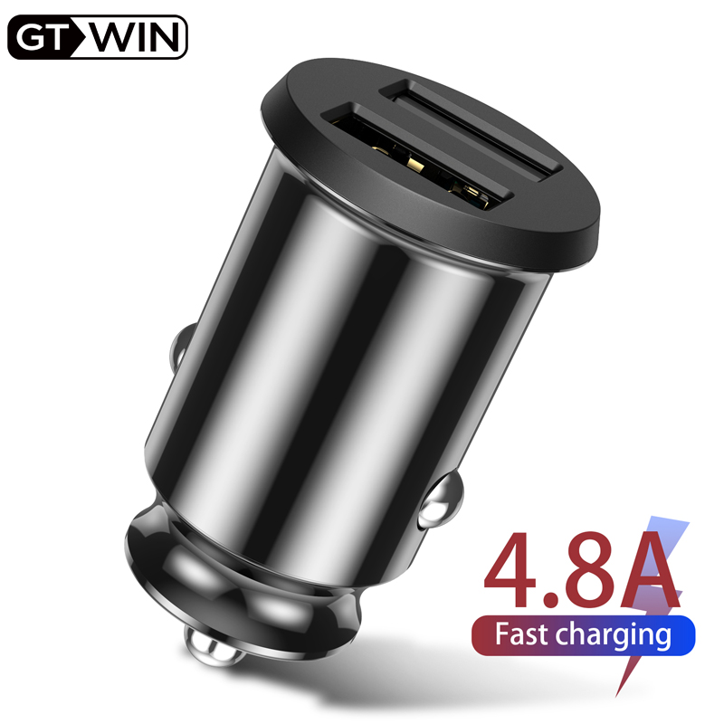 GTWIN USB Car Charger Fast Charging 4.8A Mobile Phone Adapter Dual USB Quick Charge For IPhone Samsung Xiaomi Huawei Car Charger