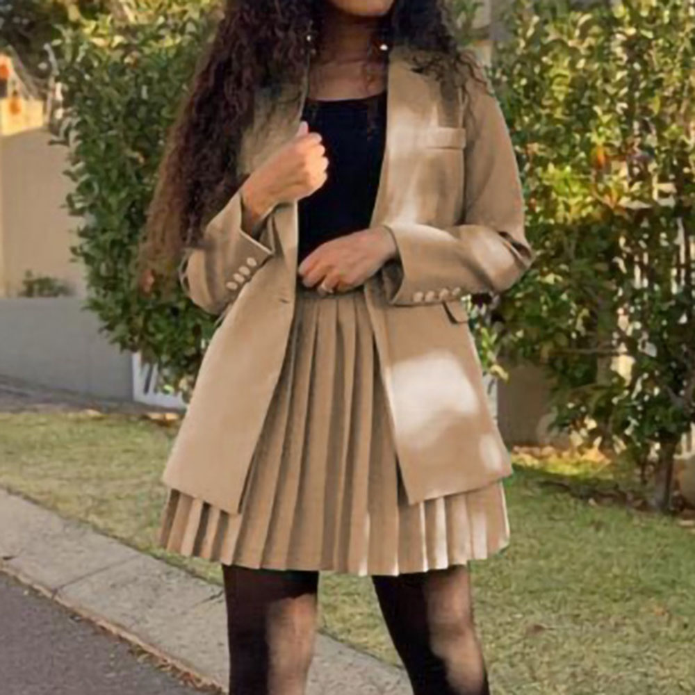 Autumn African Style Women Two Piece Sets Office Ladies Pleated Skirt Blazer Suits Solid Color Simple Work Wear Clothing Sets