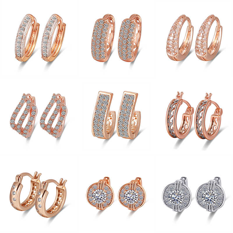 Classic Rose Gold Hoop Earring For Women Exquisite Hollow Craved Pattern Crystal Earring New Fashion Wedding  Jewelry For Female
