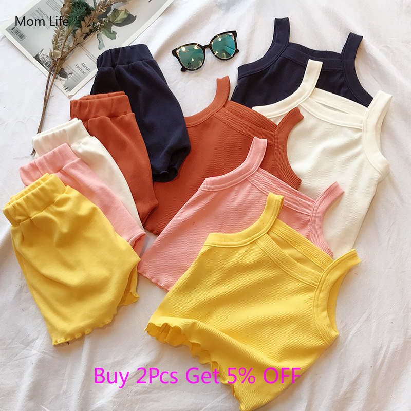 2Pcs Fashion Summer Kids Baby Girls Boys Clothes Cotton Casual Sleeveless Tops T-shirt+Shorts Toddler Infant Outfit Set 12M-5Y