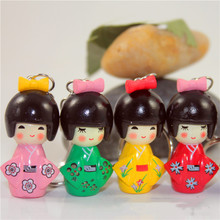 2019 New Fashion Random Color 1pcs Japanese Kimono Girl Keychain Cartoon Doll Keychain Puppet Key Chain Girls Keyring(China)