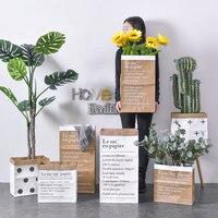 북유럽 크래프트 종이 꽃꽂이 장식 장식품 크리 에이 티브 간단한 드라이 플라워 홈 스토리지 가방 작은 꽃 바구니 장식