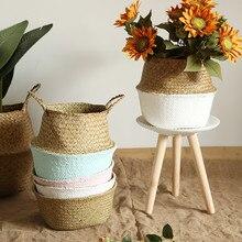 ครัวเรือนพับตะเกียบธรรมชาติหญ้าสวนดอกไม้แจกันแขวนตะกร้า Handle Storage กระดิ่งตะกร้า #15