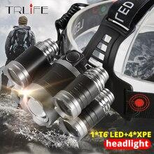 Brighest פנס Led פנס XML 3/5 LED T6 ראש מנורת פנס לפיד ראש אור להשתמש 18650 סוללה הטוב ביותר עבור קמפינג, דיג