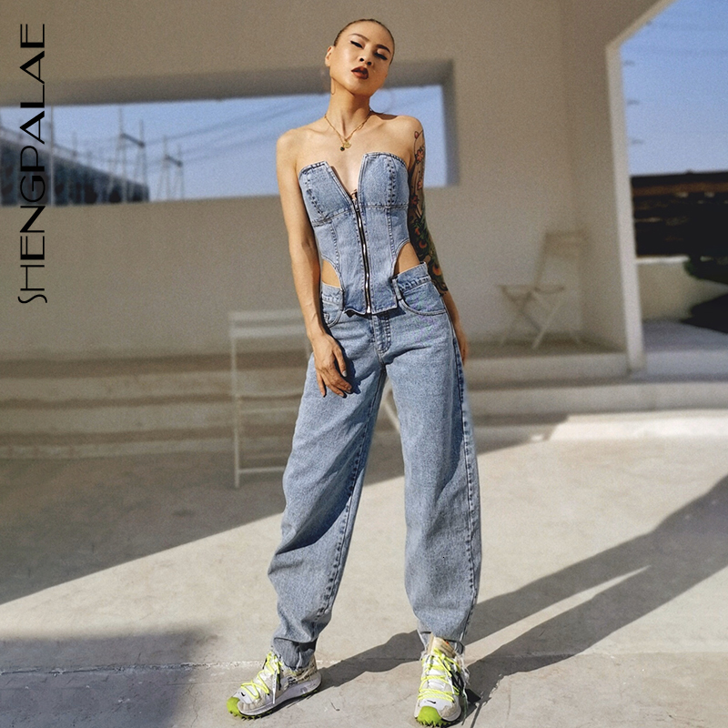SHENGPALAE 2020 New Spring Personality Design Loose Jeans High Quality Split Joint  Wrap Chest Womab Pants Tide Fashion 5D356