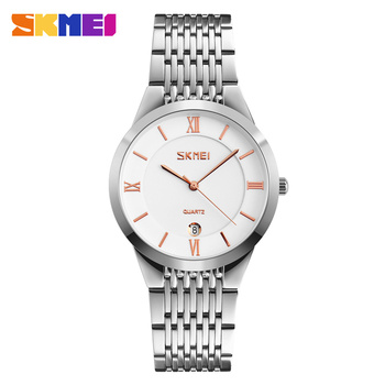 SKMEI Quartz Couple Watches Simple 304 Stainless Steel Strap Lover Series Wrist Watch With Date Men Women Clocks Gift Horloges