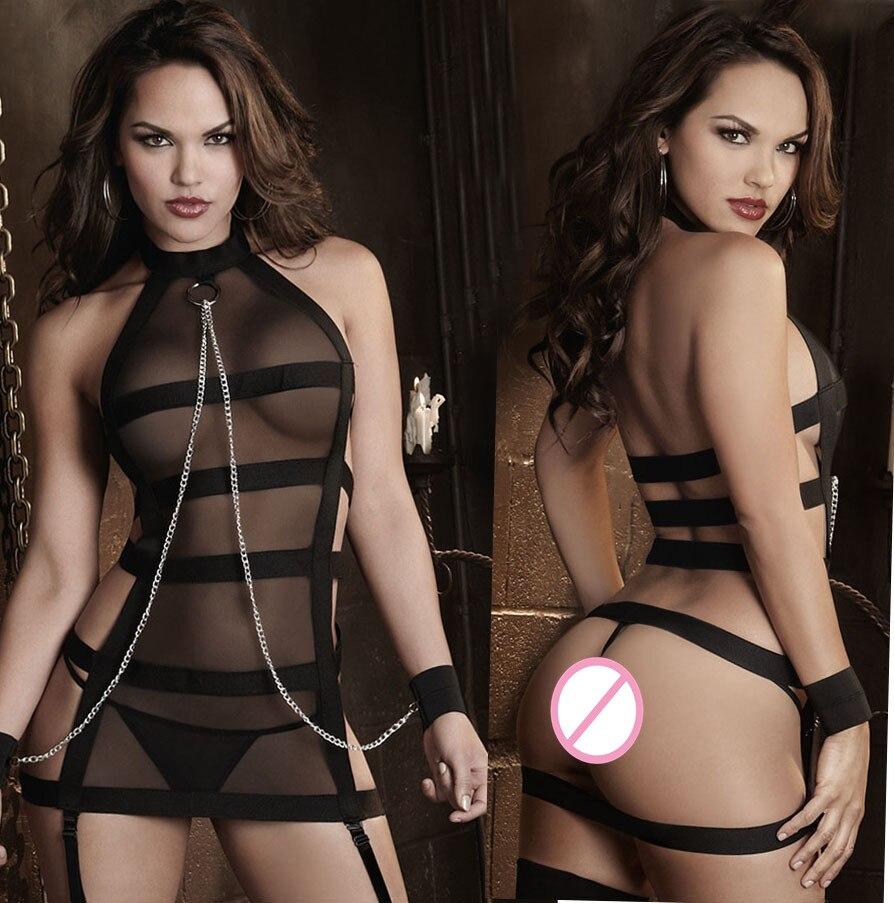New Sexy Sheer Mesh Teddy Women's Sexy Erotic Lenceria Costume Babydoll Bodysuit Transparent Strappy Chain Handcuffs Teddy