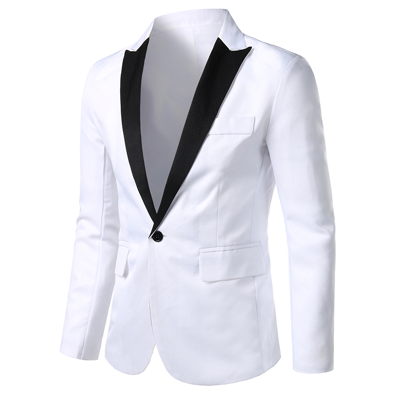 White Men Suit Jacket Long Sleeve Size M-3XL, Fashion Casual Jackets And Coats 2020 Black Men Suit Blazer Summer Man Top