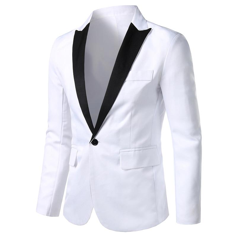 White Men Suit Jacket Long Sleeve Size M-3XL, Fashion Casual Jackets And Coats 2020 Black Men Suit Blazer Summer Man Top