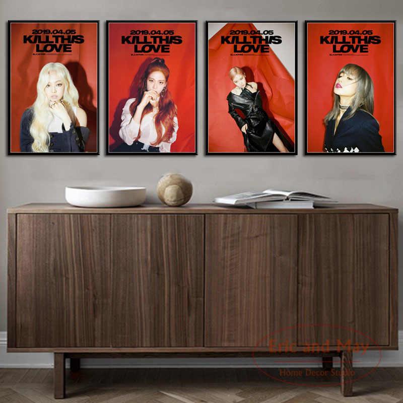 Blackpink Giết Tình Yêu Âm Nhạc K-POP Nhóm Nhạc Nữ Thời Trang Áp Phích Và Hình In Tranh Vải Hình Ảnh Nghệ Thuật Treo Tường Trang Trí Nhà Cửa trang Trí